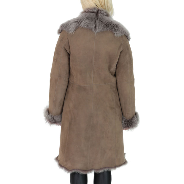Womens Luxurious Toscana Long Coat Real Sheepskin Pamela Taupe Back