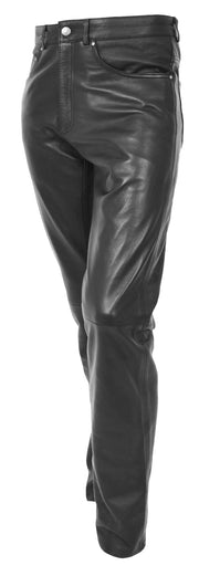 Mens Genuine Soft Black Leather Trouser Ajax 1