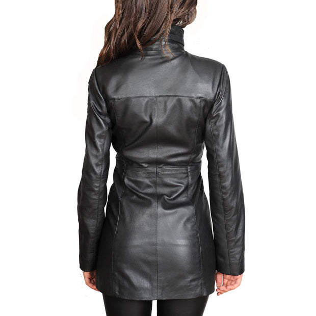 Womens 3/4 Long Zip Fasten Leather Jacket Carol Black back view