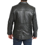 Mens Classic Blazer Buttoned Box Jacket Harris Black back