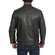 Mens Biker Style Leather Jacket Vintage Rub Off Effect Matt Brown back view
