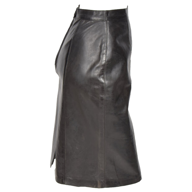 Womens Black Leather Pencil Skirt Lucy side view