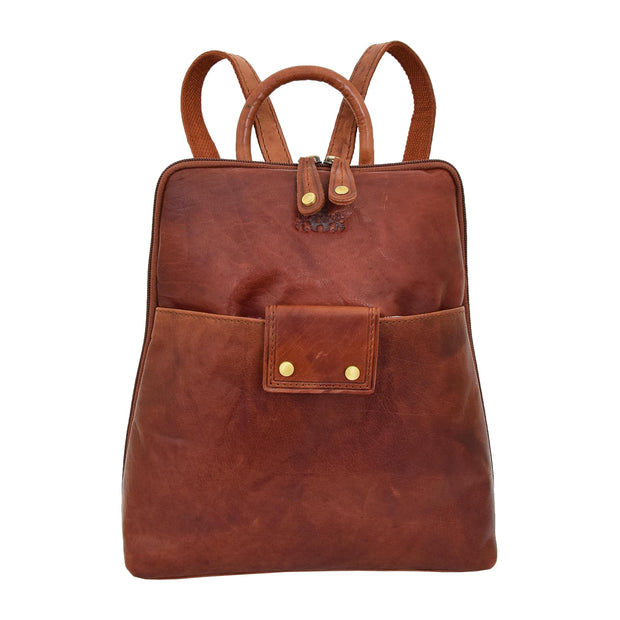 Womens Backpack Cognac LEATHER Rucksack Travel Organiser Evie Front