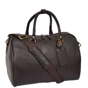 Genuine Leather Holdall Weekend Cabin Duffle Bag A21 Brown