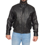 Mens Classic Bomber Soft Leather Jacket Alan Black zip fasten view