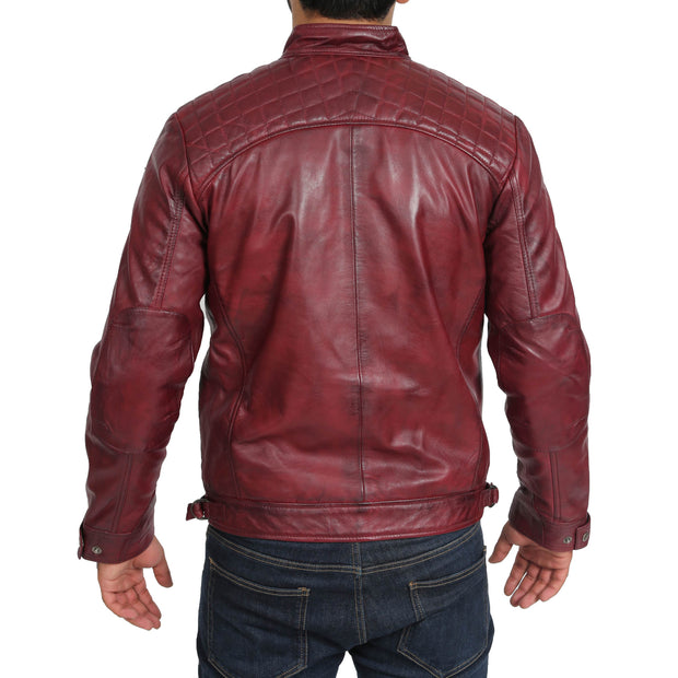 Gents Fitted Biker Leather Jacket Django Burgundy Back