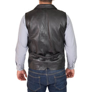 Mens Genuine Soft Leather Waistcoat Western Vest Yelek Rhys Black Back