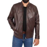 Mens Genuine Leather Jacket Regular Fit Coat Amos Brown Open 2