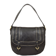 Womens Genuine Black Leather Satchel Bag Classic Hobo Shoulder Handbag Cecil Front