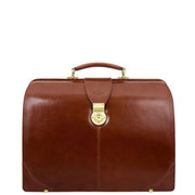 Exclusive Doctors Leather Bag Cognac Italian Briefcase Gladstone Bag Doc Front 1