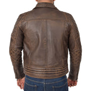 Mens Trendy Biker Leather Jacket Antique Quilted Designer Coat Jace Brown Back