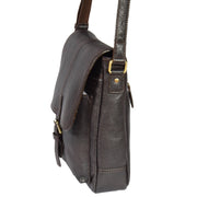 Mens Real Leather Cross body Messenger Bag A224 Brown Side