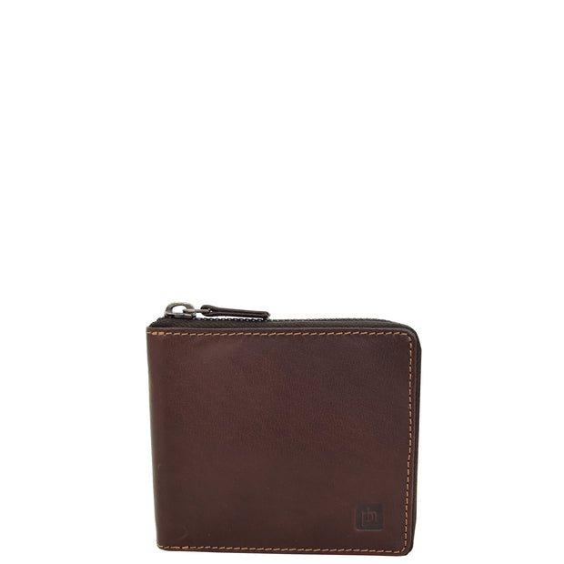 Mens RFID Zip Around Real Leather Wallet Cards Coins ID Notes Case AL04 Brown Front 2