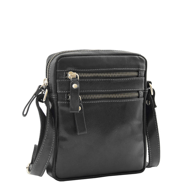 Luxury Black Leather Unisex Cross Body Flight Bag Small Pouch Sunny Front 1