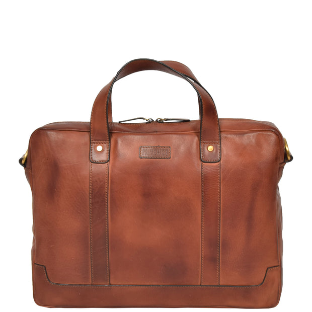 Real Soft Leather Satchel Vintage TAN Briefcase Business Office Bag Rio Front