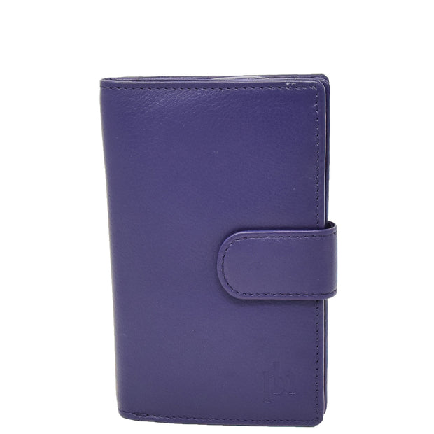 Womens Soft Real Leather Purse Trifold Booklet Clutch AL22 Purple Front