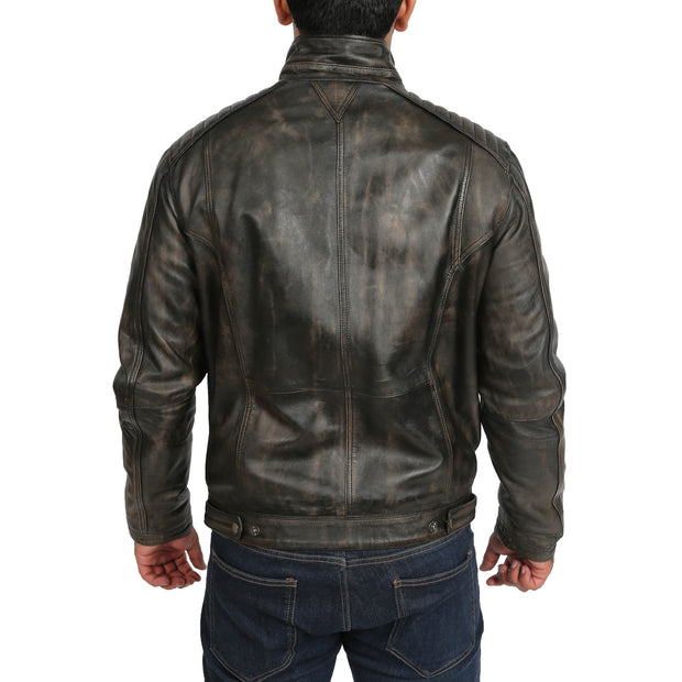 Mens Fitted Washed Biker Vintage Leather Aron Rub Off Back
