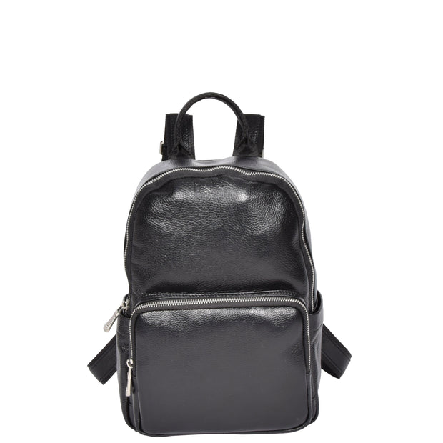 Girls Real Black Leather Backpack Work Casual Classic Bag Kaya Front