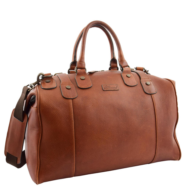 Genuine Vintage Chestnut Leather Holdall Travel Duffle Weekend Bag Rove Front With Belt 2