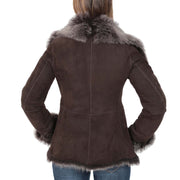 Womens Fitted Genuine Toscana Real Sheepskin Coat Pearl Brown Back