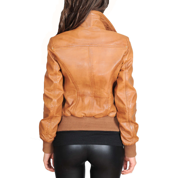 Womens Slim Fit Bomber Leather Jacket Cameron Tan Back