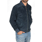 Mens Genuine Suede Bomber Jacket Roco Blue Front