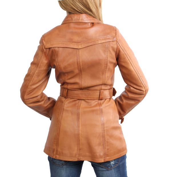 Womens Soft Leather Trench Coat Olivia Tan Back