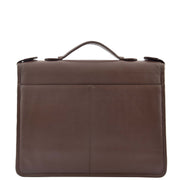Brown Leather A4 Ring Binder File Folio Office Bag Zip Organiser Braga Back