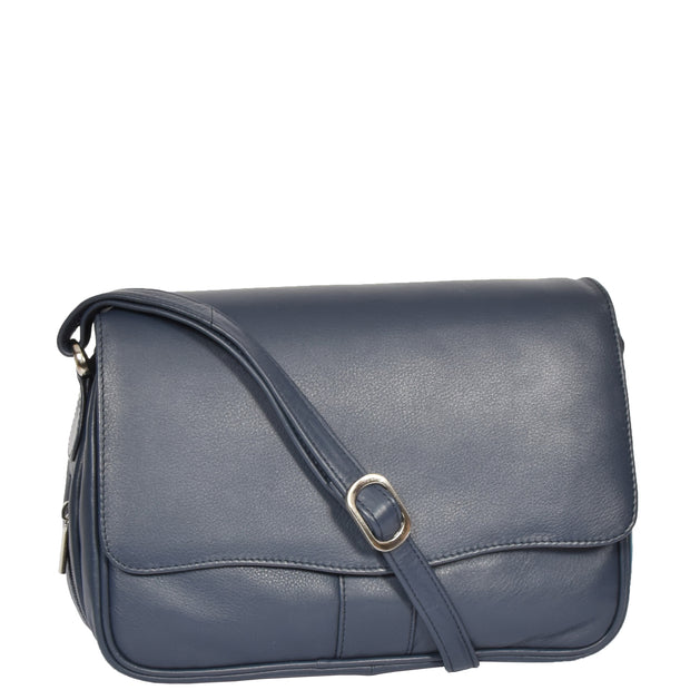 Womens Navy Leather Shoulder Messenger Handbag Ada