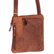 Real Leather Cross Body Vintage Distressed Look Messenger Flight Bag A650 Tan Front