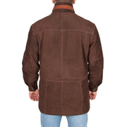 Gents Nubuck Leather Parka Coat Henry Brown back view