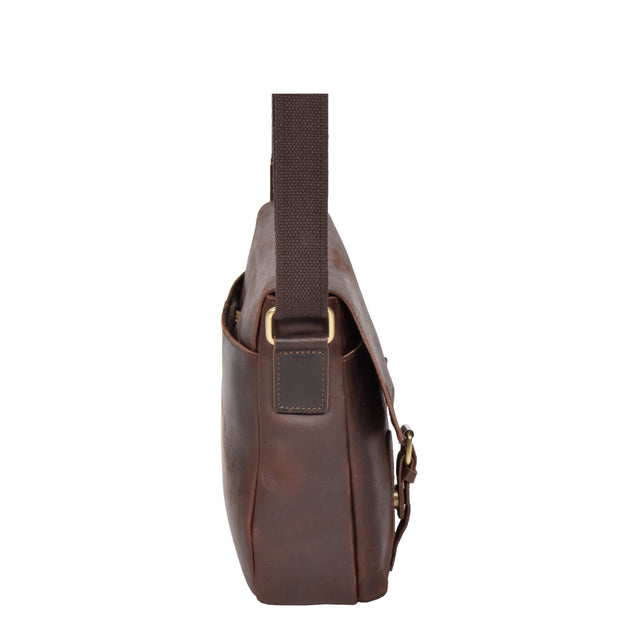Real Leather Cross Body Messenger Shoulder Bag Luxor Brown Side