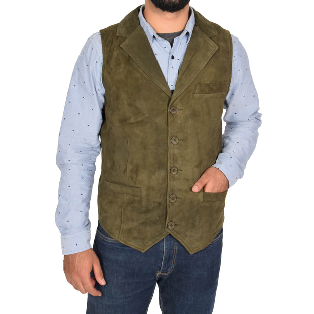 Mens Real Suede Leather Waistcoat Classic Vest Yelek Status Green