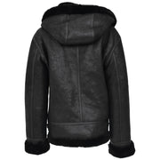 Womens Real Black Sheepskin Jacket Hooded Shearling B3 Pilot Coat Maria Back