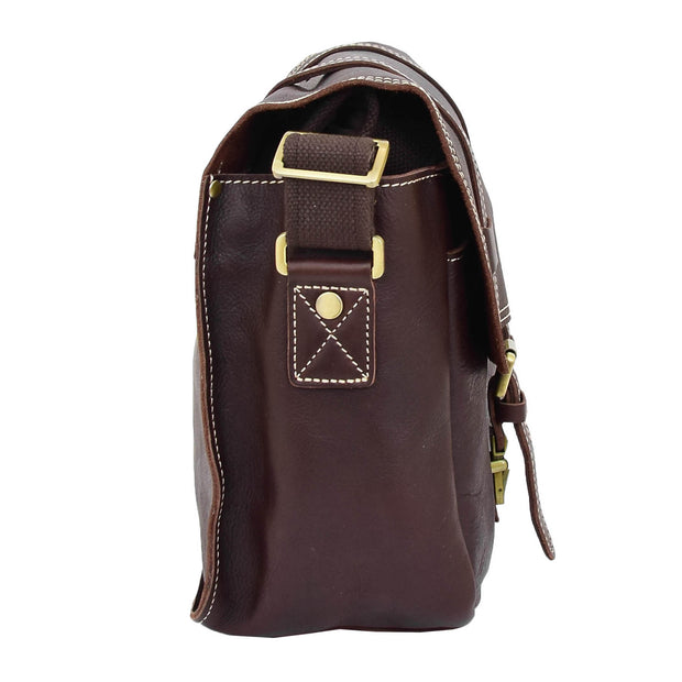 Real Leather Cross Body Shoulder Bag Multi Use Camera Organiser Bussell Brown Side