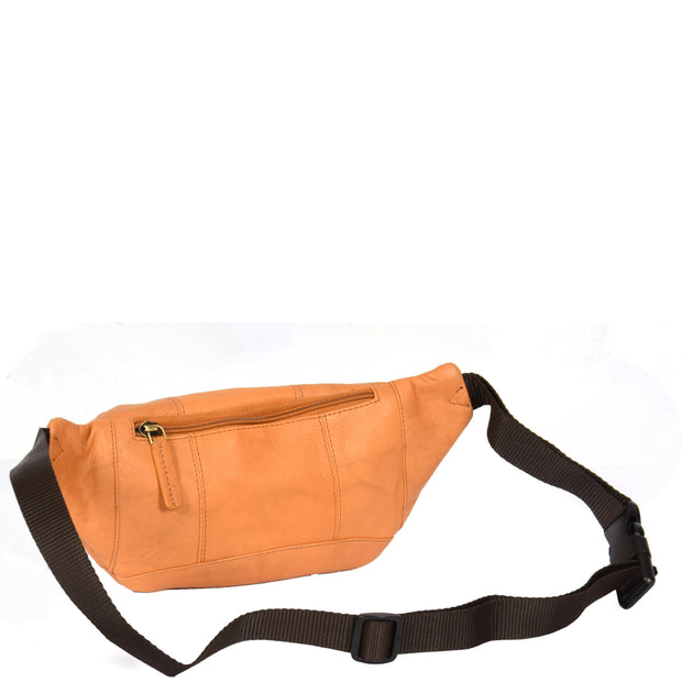 Real Leather Bum Bag Money Mobile Belt Waist Pack Travel Pouch A072 Sand Back