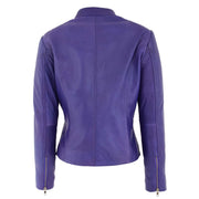 Womens Fitted Leather Biker Jacket Casual Zip Up Coat Jenny Purple Back