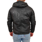 Mens Real Black Leather Bomber Hoodie Jacket Sports Fitted Coat Kent Back