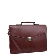 Brown Leather Briefcase For Mens Laptop Business Organiser Shoulder Bag Alvin Front 2