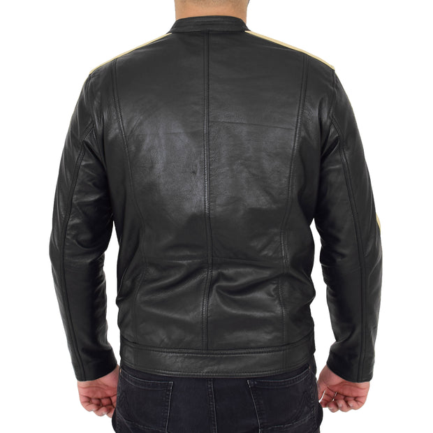 Mens Black Leather Biker Casual Contrasting Stripes Jacket Butch Back