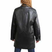 Ladies Classic Parka Real Leather Coat Trim Jacket Lulu Black-Grey Back