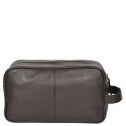 Wash Leather Bag Travel Toiletry Shaving Kit Wrist Bag A98 Brown Front
