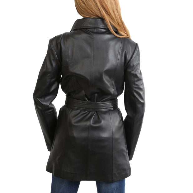 Womens Real Leather Hip Length Trench Parka Coat Alba Black Back