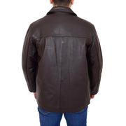 Gents Real Leather Button Box Jacket Classic Regular Fit Coat Luis Brown Back