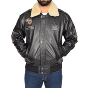 Mens Pilot Bomber Leather Jacket Spitfire Black main view