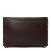 Real Leather Wrist Clutch Bag A5 Size Underarm Folio Case Nixes Brown Back