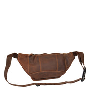Real Leather Bum Bag Money Mobile Belt Waist Pack Travel Pouch A072 Dark Tan Back