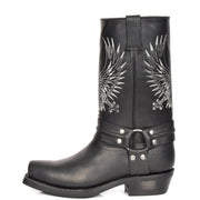 Real Leather Square Toe Cowboy Biker Boots AE33 Black Side 1