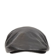 Genuine Black Leather Flat Cap English Granddad Baker-boy Hat Arthur
