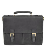 Mens REAL Leather Briefcase Vintage Look Satchel Shoulder Bag A167 Navy Front